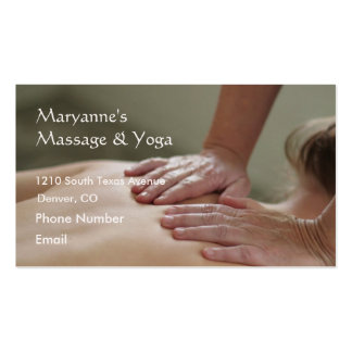 Foto del masaje sueco - trasera tarjetas de visita