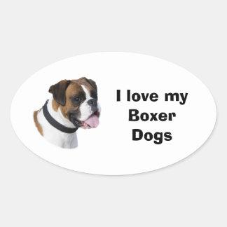 Foto del mascota del perro del boxeador del calcomanías óvales