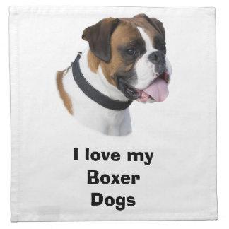 Foto del mascota del perro del boxeador del servilletas imprimidas