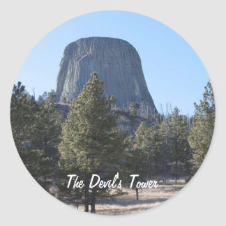 Foto del monumento nacional de la torre del diablo pegatina redonda