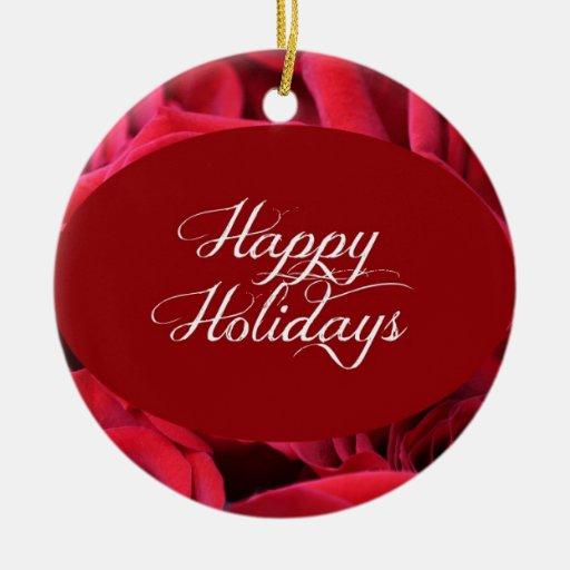 Foto del navidad del rosa rojo adorno navideño redondo de cerámica