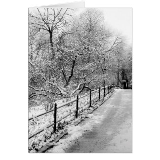 Foto del paisaje de la nieve del invierno del felicitación