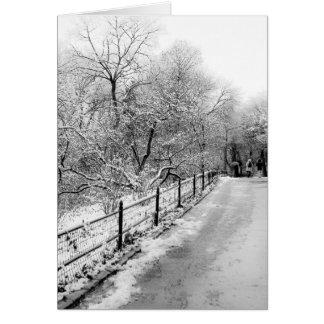 Foto del paisaje de la nieve del invierno del felicitacion