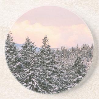 Foto del paisaje de los árboles Nevado Posavasos Personalizados