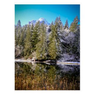 Foto del paisaje del lago mountain del invierno postal