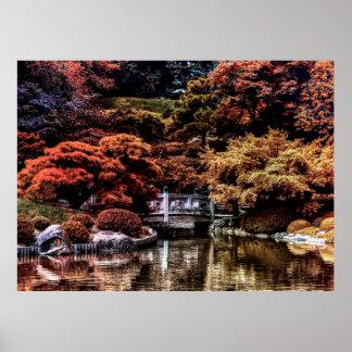 Foto del paisaje del otoño de la caída del parque póster