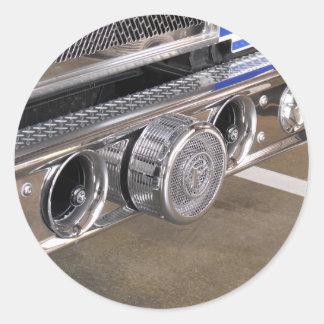 foto del parachoque del coche de bomberos pegatina redonda