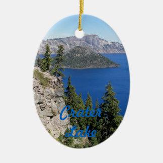 Foto del parque nacional del lago crater adorno navideño ovalado de cerámica