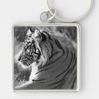 Foto del perfil del tigre de B&W Llavero Cuadrado Plateado