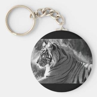 Foto del perfil del tigre de B&W Llavero Redondo Tipo Pin