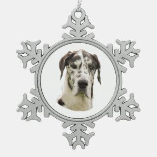 Foto del perro de great dane del Harlequin Adorno De Peltre En Forma De Copo De Nieve