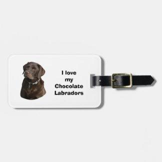 Foto del perro de Labrador del chocolate Etiqueta Para Maleta