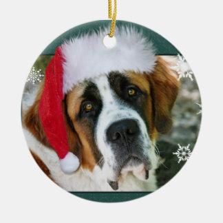 Foto del perro de St Bernard del navidad Adorno Navideño Redondo De Cerámica