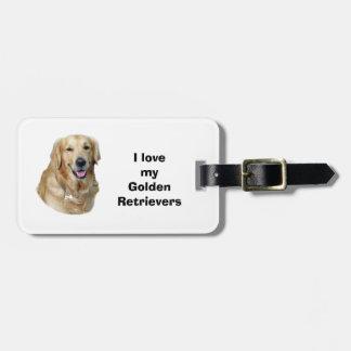 Foto del perro del golden retriever etiquetas maleta