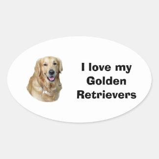 Foto del perro del golden retriever pegatina de óval