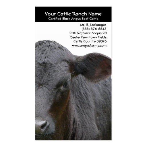 Foto del primer de la vaca de Angus para los granj Plantillas De Tarjetas Personales