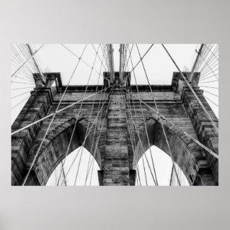 Foto del puente de Brooklyn en NYC Póster
