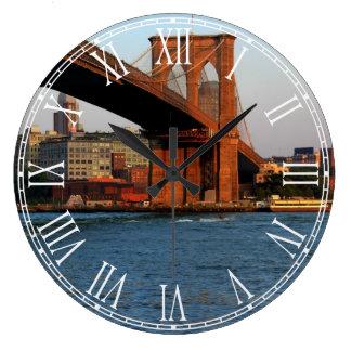Foto del puente de Brooklyn en NYC Reloj Redondo Grande