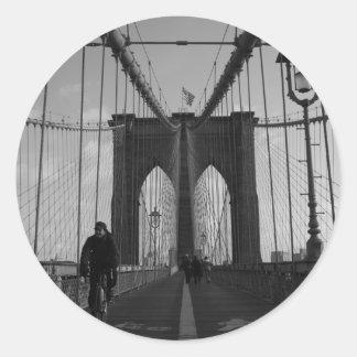 Foto del puente de Brooklyn Etiqueta Redonda