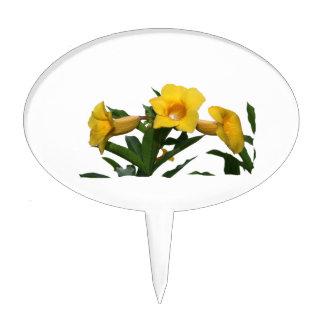 Foto del recorte de las flores de trompeta amarill decoraciones para tartas
