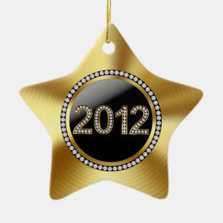 Foto del recuerdo del oro 2012 y del boda del adorno de cerámica en forma de estrella