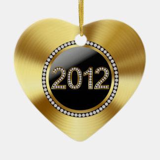Foto del recuerdo del oro 2012 y del boda del adorno de cerámica en forma de corazón