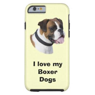 Foto del retrato del perro del boxeador funda de iPhone 6 tough