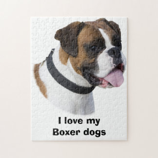 Foto del retrato del perro del boxeador rompecabezas con fotos