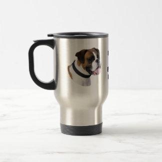 Foto del retrato del perro del boxeador taza de viaje de acero inoxidable