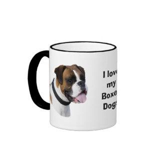 Foto del retrato del perro del boxeador taza de dos colores