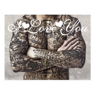 Foto del tatuaje del cuerpo masculino te amo postal
