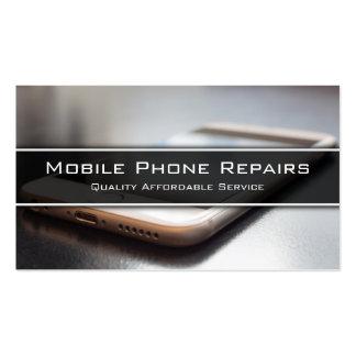Foto del teléfono elegante en el escritorio - tarjetas de visita