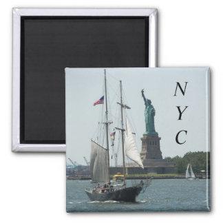 Foto del viaje del puerto de New York City Imán Cuadrado