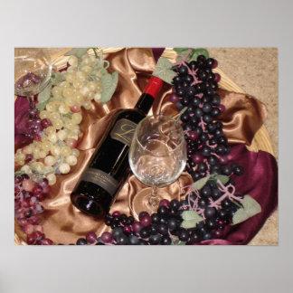 Foto del vino con las uvas póster