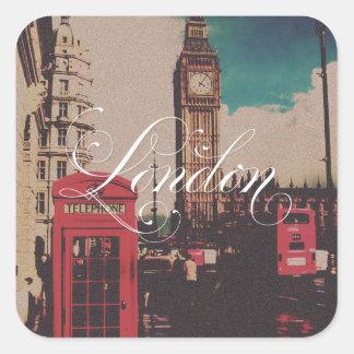 Foto del vintage de la señal de Londres Pegatina Cuadrada