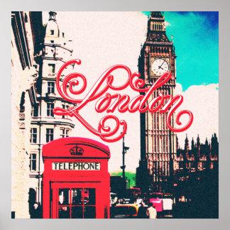 Foto del vintage de la señal de Londres Póster
