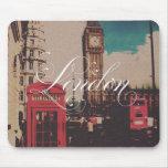 Foto del vintage de la señal de Londres Alfombrillas De Raton