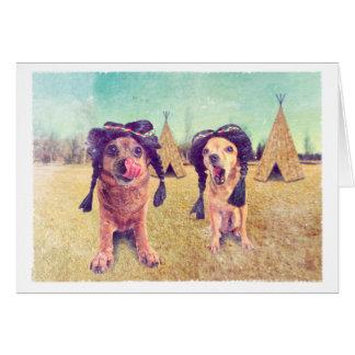 Foto del vintage de las chihuahuas de la acción de tarjeta de felicitación