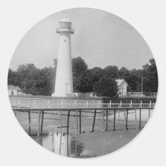 Foto del vintage del faro de Biloxi Pegatina Redonda