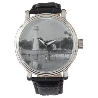 Foto del vintage del faro de Biloxi Reloj