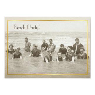 Foto del vintage del fiesta de la playa invitación 12,7 x 17,8 cm