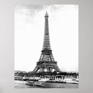 Foto del vintage - torre Eiffel en París, Francia Póster