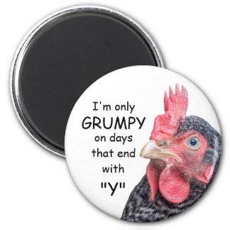 Foto divertida de la gallina del pollo que frunce  imán redondo 5 cm