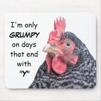 Foto divertida de la gallina del pollo que frunce  alfombrilla de ratones