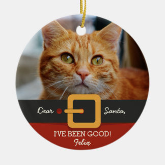 Foto divertida del gato de Santa del navidad y Adorno Navideño Redondo De Cerámica