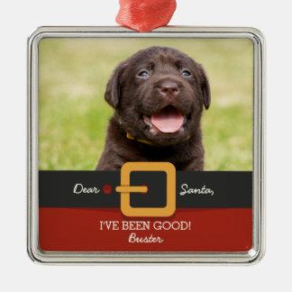 Foto divertida del perro de Santa del navidad y Adorno Navideño Cuadrado De Metal