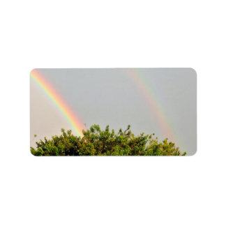 Foto doble del arco iris con el cielo y los árbole etiquetas de dirección