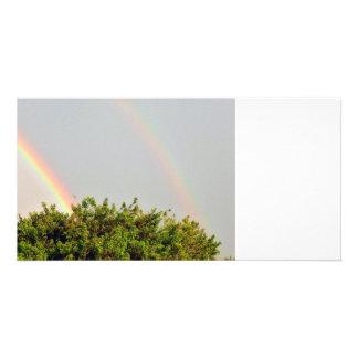 Foto doble del arco iris con el cielo y los árbole tarjetas personales