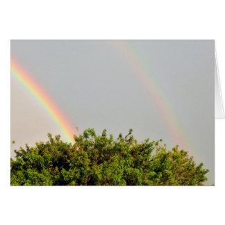 Foto doble del arco iris con el cielo y los tarjeta pequeña