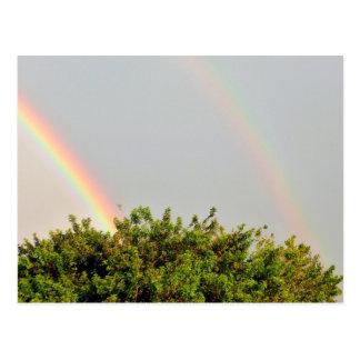 Foto doble del arco iris con el cielo y los tarjeta postal